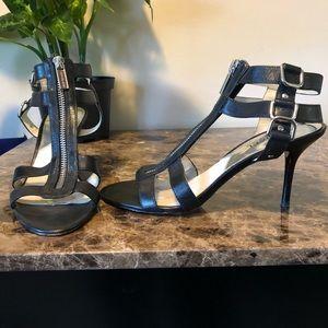 Michael Michael Kors Black Leather Zip Heel